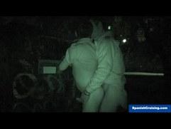 Barebacking Outdoors at Night