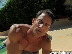 Hot gay scene With the fellows jizz dripping down his suntanned back,