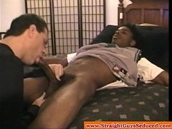 DILF sucking bbc on young ebony hunk