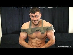 Huge oiled up bodybuilder eats cum