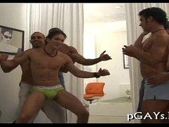 Sexy homosexuals arrange foursome sex