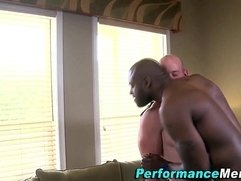 Black stud fucks and cums