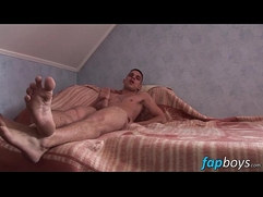 Skinny little bum boy Rabbit plays with his big pecker solo