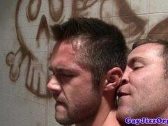 Gay amateur orgy assfucking action closeup