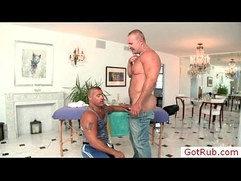 Muscled mature gets massaged by GotRub
